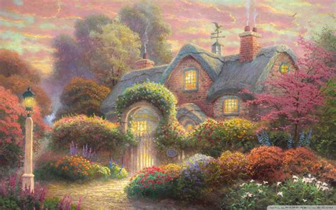 Fairytale Cottage Painting 4k Hd Desktop Wallpaper For 4k