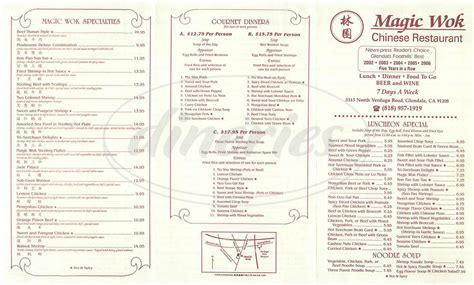 magic l menu magic wok restaurant menu glendale dineries