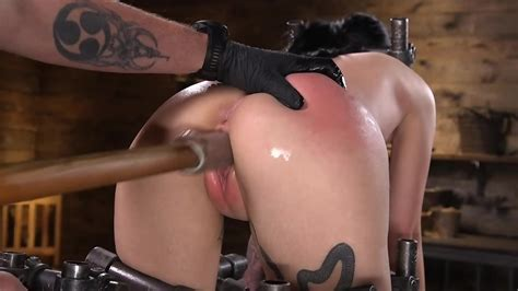 Naked Slave Stuck In Special Bondage And Drilled With Sex