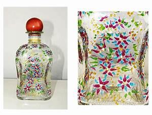 Glasflasche Mit Stöpsel : glasflasche einzigartig handbemalt blumen dekoration sch n ~ Watch28wear.com Haus und Dekorationen