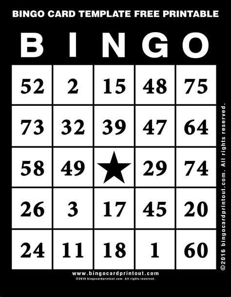 bingo card template  printable bingocardprintoutcom