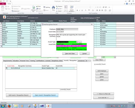 db pros hr tracking  software screenshots  db