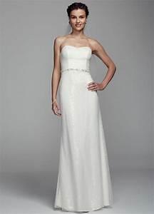 Db studio long strapless sheath wedding dress with beaded for Db studio wedding dresses