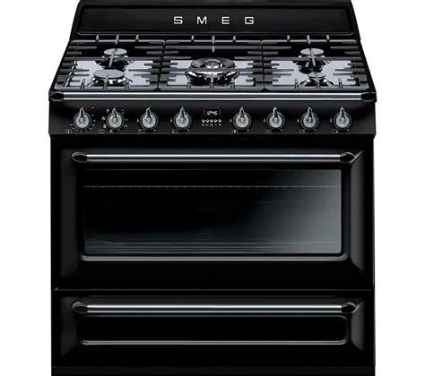 buy smeg 90 cm dual fuel range cooker black free delivery currys