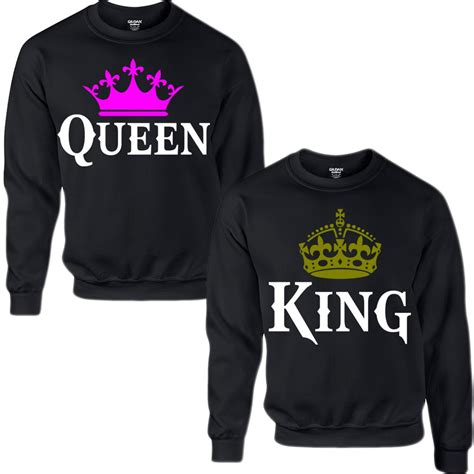 king and queen couple crewneck sweatshirt from teee shop
