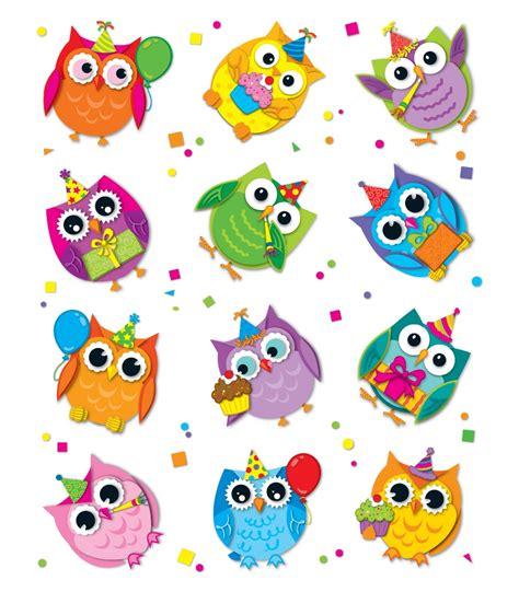 celebrate  colorful owls shape stickers grade pk  carson dellosa publishing