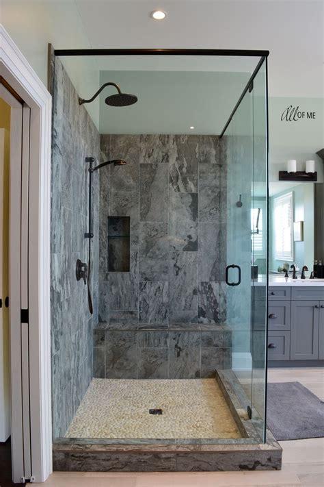 master bathroom  grey shaker vanity porcelain tile