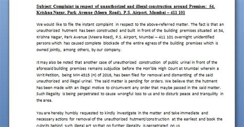 complaint letter format  word  unauthorized construction
