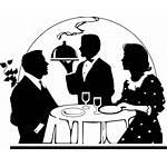 Dinner Clipart Romantic Couple Waiter Served Date