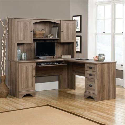 sauder harbor view computer desk and hutch in salt oak 417586 87 kit cymax stores