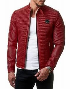Veste En Cuir Rouge Homme : blouson simili cuir matelass rouge renzo ~ Melissatoandfro.com Idées de Décoration