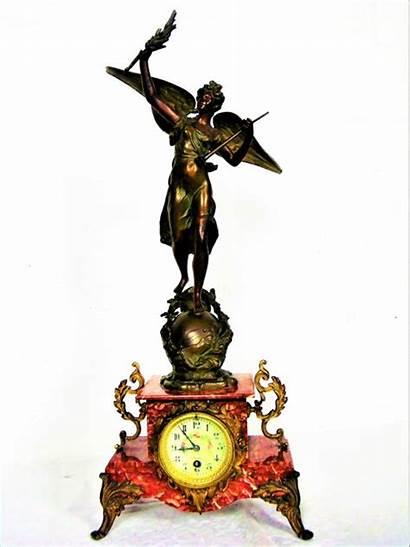 Pendule Prachtige Voet Marmeren Antieke Rood Gemerkt