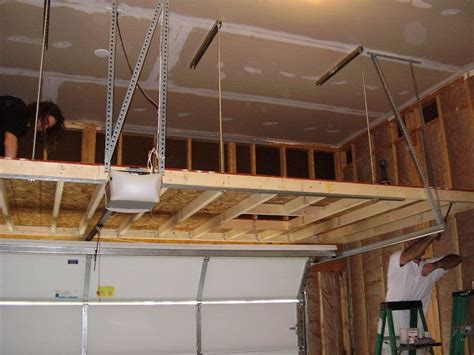 Ceiling Garage Storage Ideas by How Can You Support A Loft From Overhead In The Garage