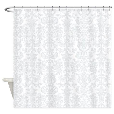 gray floral curtains white light gray floral damasks shower curtain by artonwear