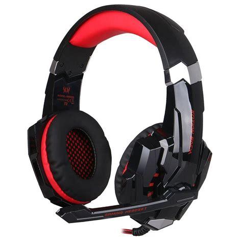 kotion    ear gaming headphones  mic  led blackred