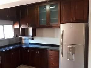 muebles, cocina, aereos, y, bajo, mesadas, en, madera, a, medida