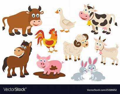 Farm Animals Isolated Vector Royalty Vectorstock Animal