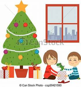EPS Vectors of Children Opening Christmas Gifts Two cute