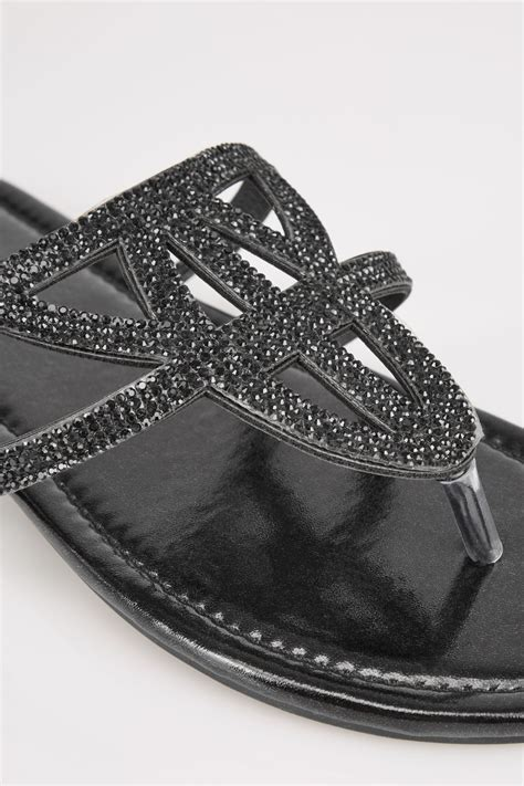 black diamante sandals  eee fit