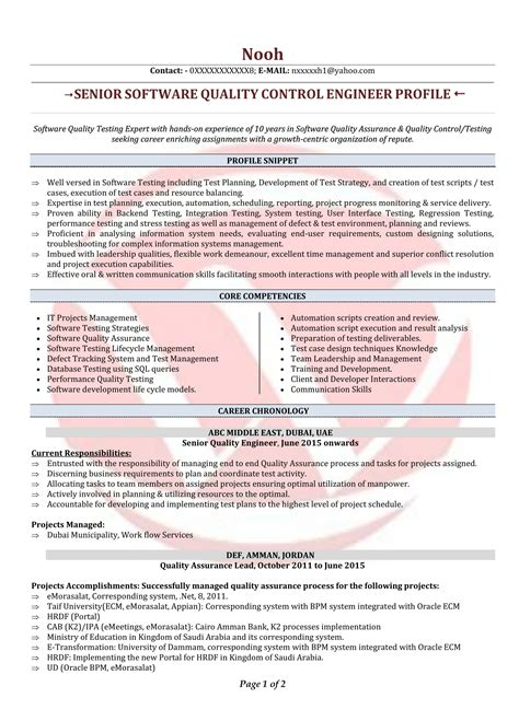 Sle Resume Format by Quality Engineer Skills Best Pictures And