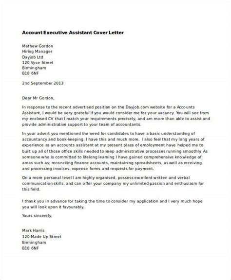 executive assistant cover letters   word
