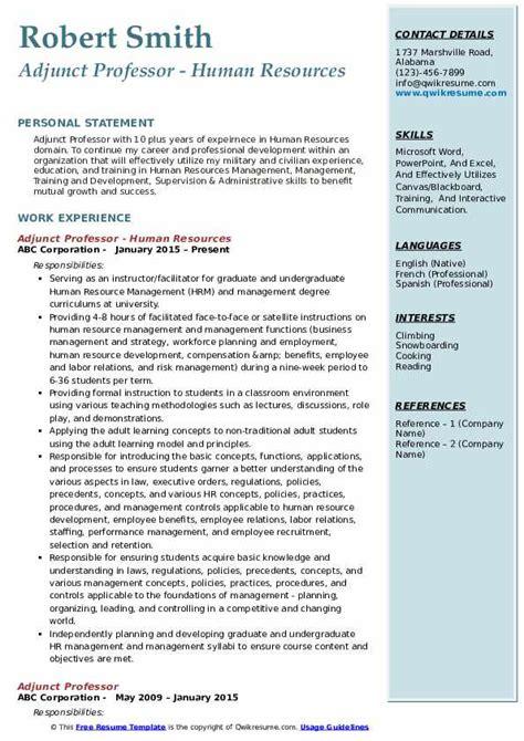 adjunct professor resume samples qwikresume