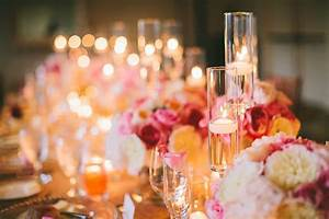 Romantic, Wedding, Reception, Table, With, High, Low, Candle, Accents