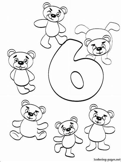 Coloring Number Pages Six Numbers Printable Coded