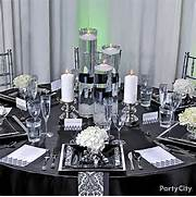 Table Decorations Black And White Theme Black White Red Gold Reception Decorations Silver Trendy Square
