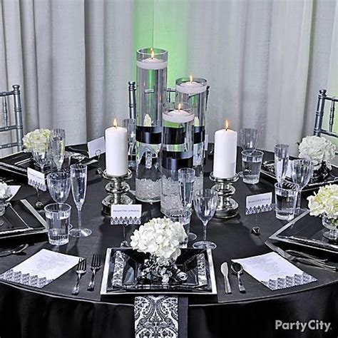 black white gold reception decorations silver trendy