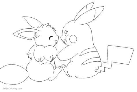 eevee coloring pages eevee and pikachu coloring pages by michy123 free