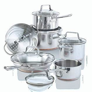 paderno  piece stainless steel copper core cookware set kitchen pots  pans set