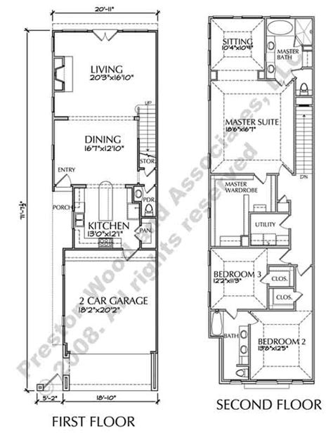 townhouse plans narrow lot two townhouse floor plans narrow yahoo image