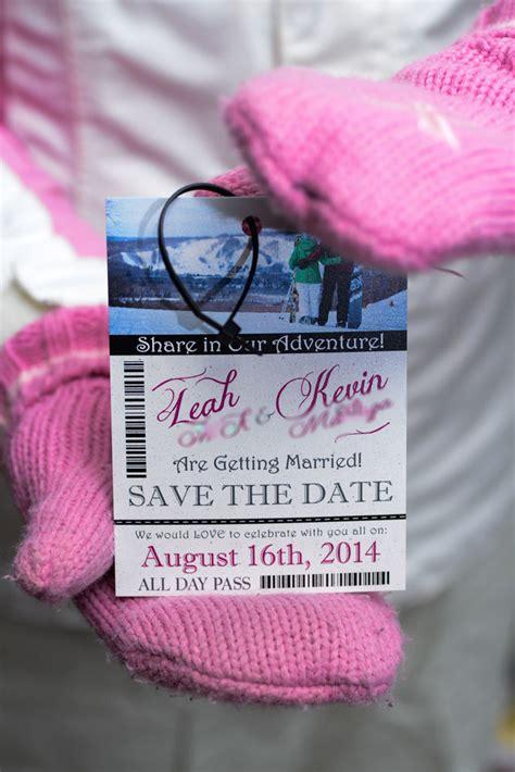 Custom Ski Pass Lift Ticket Save The Date Wedding