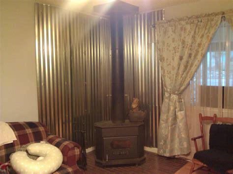 diy wood stove heat shield  rustic  works