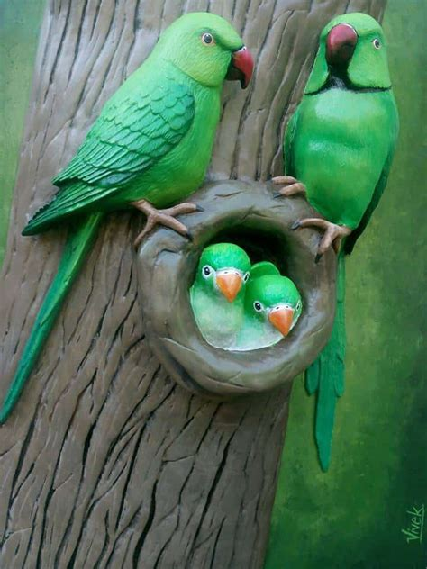 parrot family  clay art simple craft ideas