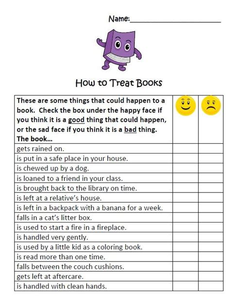 These Are Some Things That Could Happen To A Library Book This Is A Worksheet That I Will Be