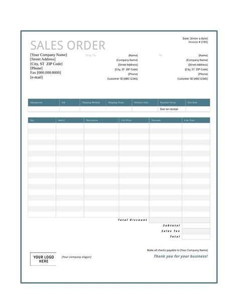 Sales Order Template Free Download, Create, Edit, Fill