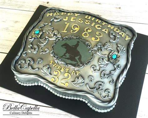 silver belt buckle cake  turquoise  horse rodeo