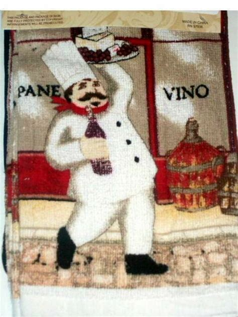 Fat Italian Chef Kitchen Linens Set Towels Oven Mitt
