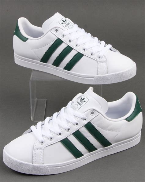 adidas Coast Star Trainers in White and Green   80s Casual ...