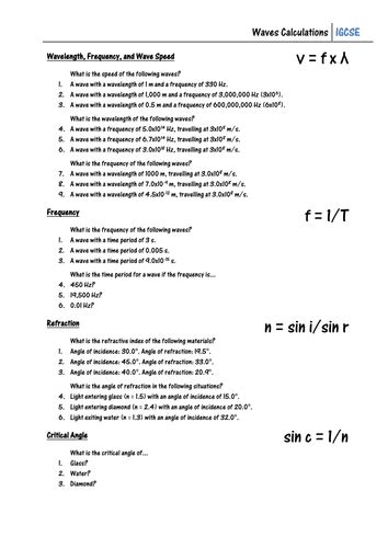 Worksheet  Waves Calculations By Csnewin  Teaching Resources Tes