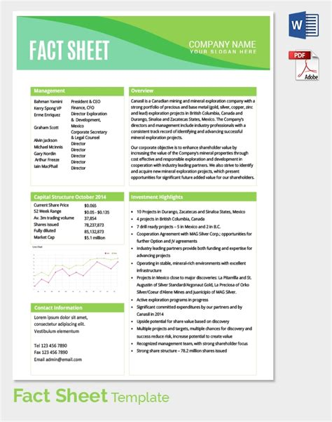 fact sheet template   word  documents