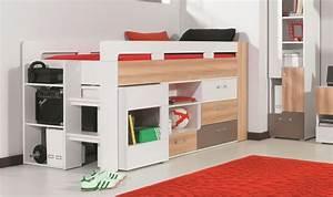 Lit Mi Hauteur Avec Rangement : lit mi haut enfant et ado avec bureau commode et matelas ~ Premium-room.com Idées de Décoration