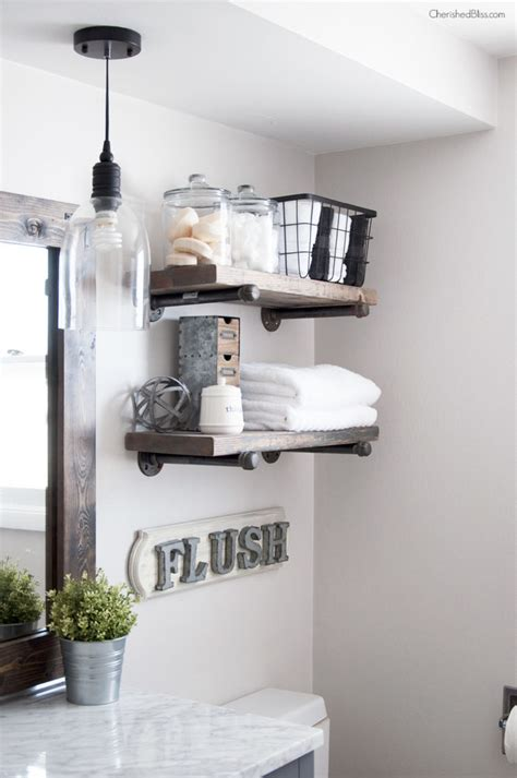 bathroom shelves industrial farmhouse bathroom reveal cherished bliss Industrial