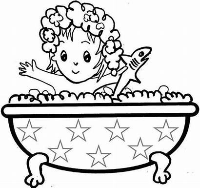 Bath Coloring Clipart Pages Bathtub Taking Printable