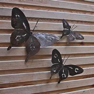 Metal butterfly garden wall art set of three