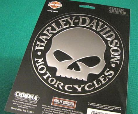 Harley Davidson Willie G Skull Embossed Chrome Decal