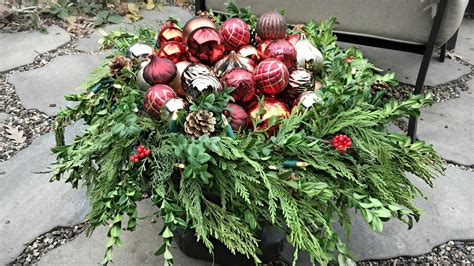 decorating outdoor flower pots  christmas