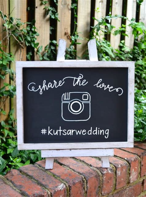 share  love hashtag wedding sign  easel handmade